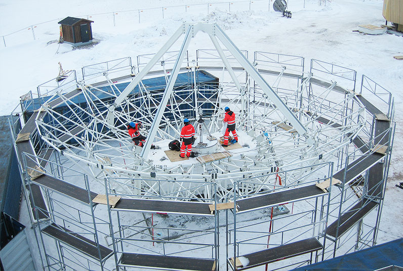 Measurement and Assembly of Two Large Telescopes in the Arctic Circle